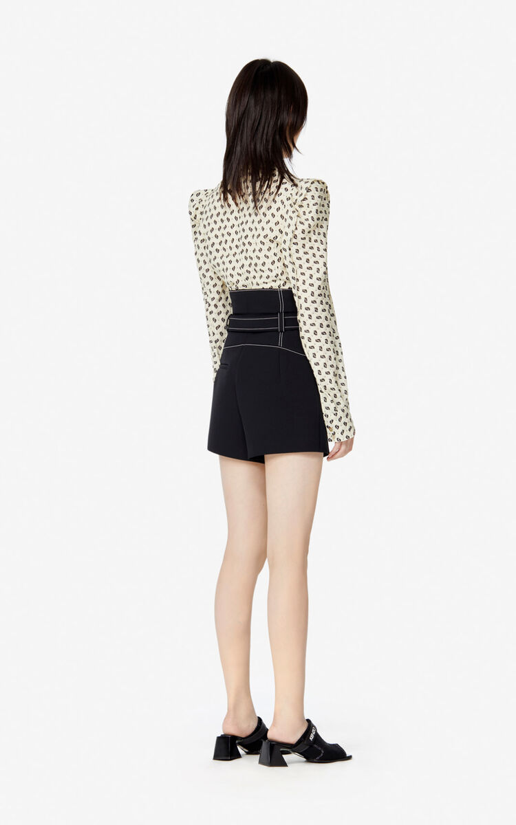 BLACK Belted high-waisted shorts for women KENZO