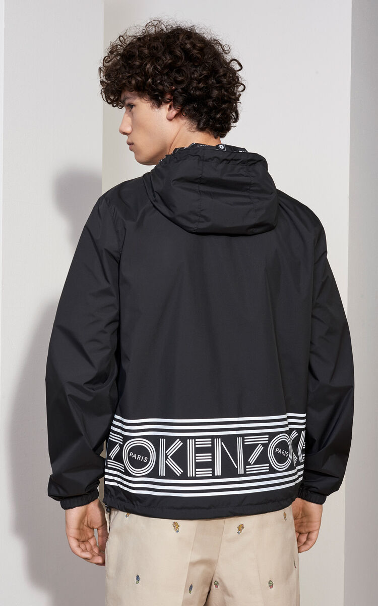 BLACK Reversible Flyers Windbreaker for men KENZO