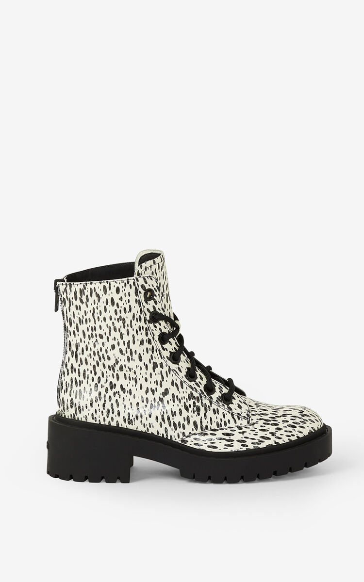 ECRU Lace-up Pike 'Leopard' leather ankle boots for unisex KENZO