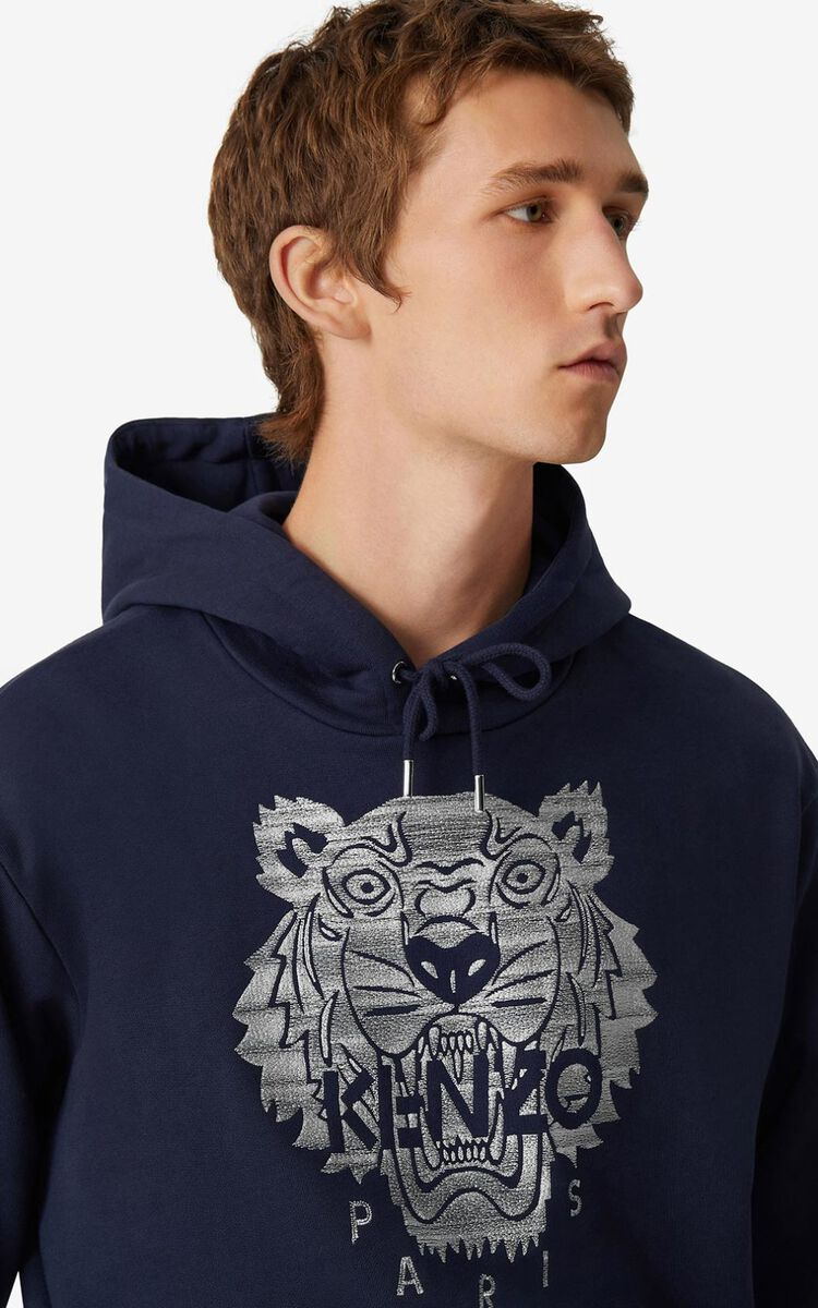 NAVY BLUE Tiger hoodie for men KENZO
