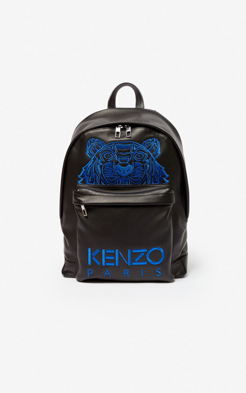 BLACK Tiger leather backpack for men KENZO ... cb70723e0f45f