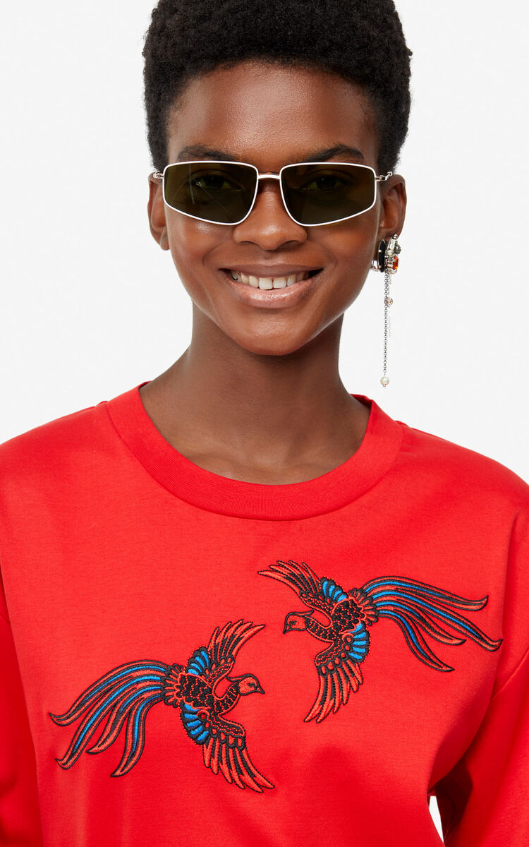 MEDIUM RED 'Flying Phoenix' top for women KENZO