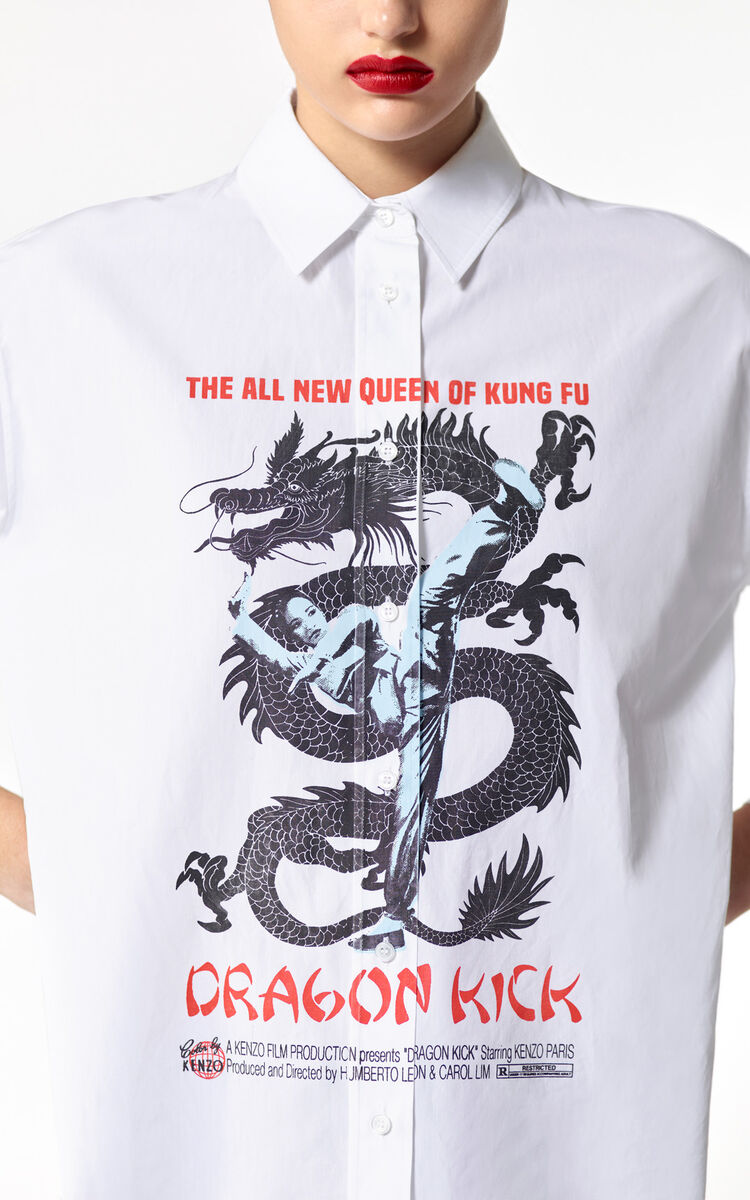 WHITE 'Dragon Kick' shirt for women KENZO