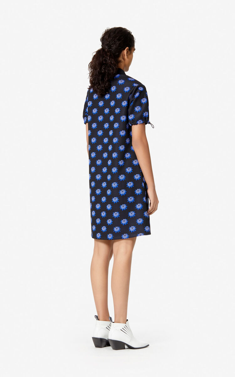 BLACK 'Passion Flower' polo dress for women KENZO