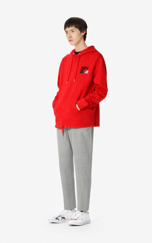 MEDIUM RED 'Kung Fu Rat' hooded sweatshirt for men KENZO