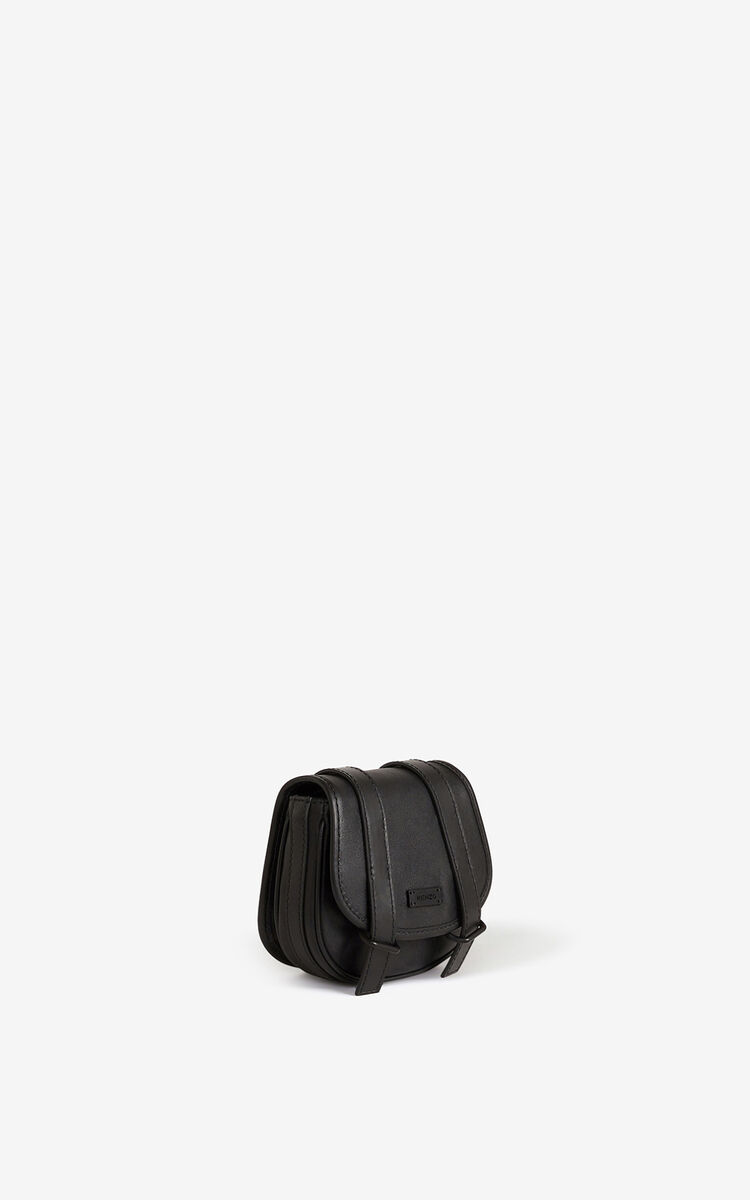 BLACK Courier mini leather messenger bag for women KENZO