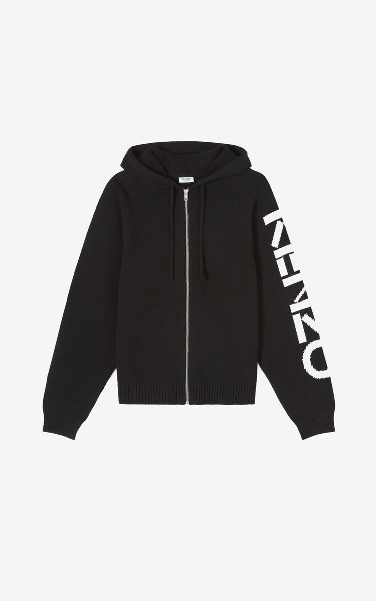 BLACK KENZO zipped cardigan for men