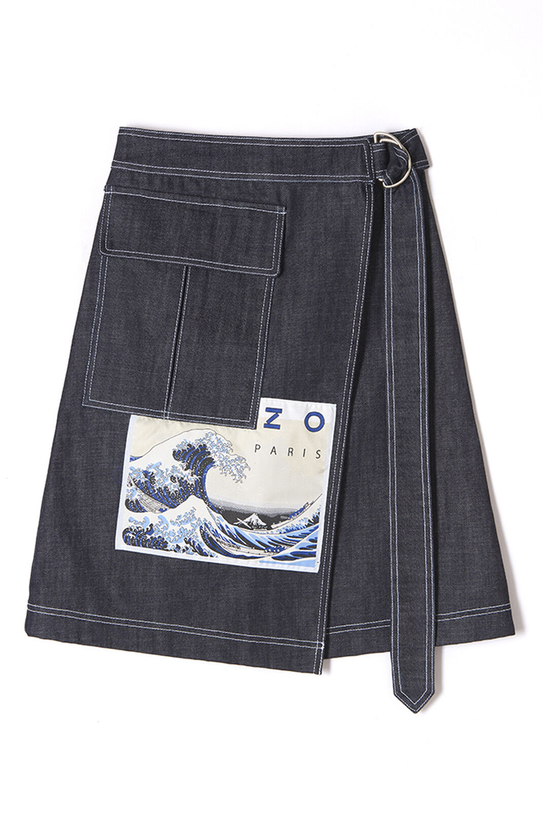 NAVY BLUE 'Kanagawa Wave' midi denim skirt for women KENZO