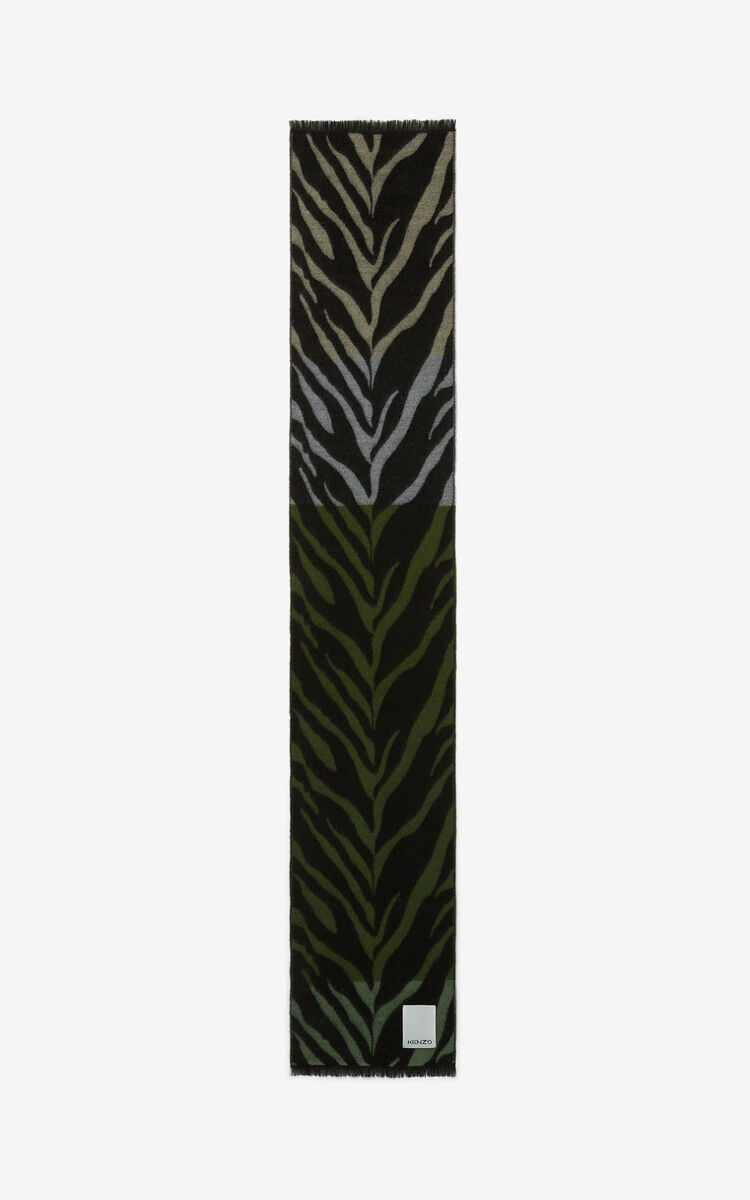KHAKI 'Tiger Stripes' scarf for unisex KENZO