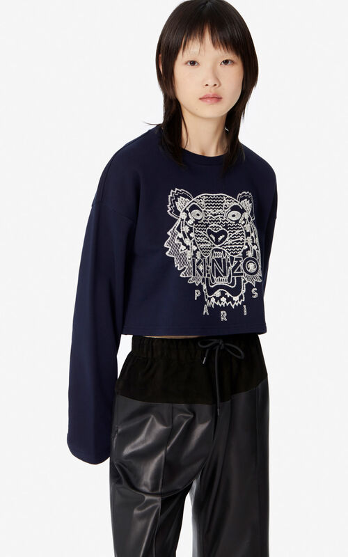 MIDNIGHT BLUE 'Ikat' Tiger boxy sweatshirt for women KENZO