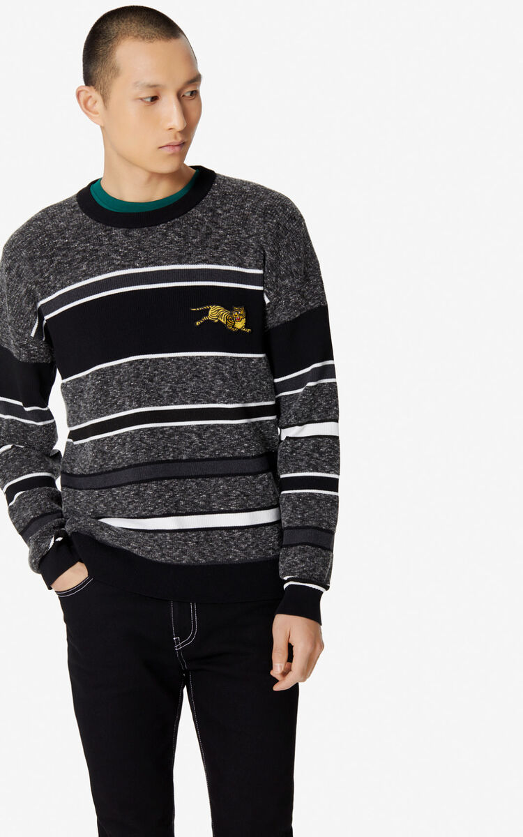 BLACK 'Jumping Tiger' striped jumper for men KENZO