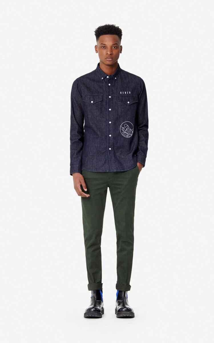 NAVY BLUE 'KENZO Mountain' denim shirt for men