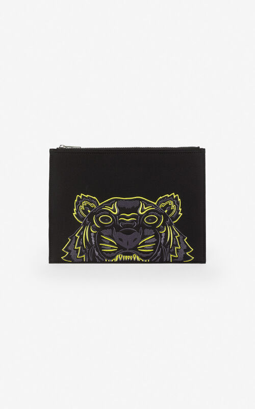 BLACK Tiger neoprene clutch for unisex KENZO