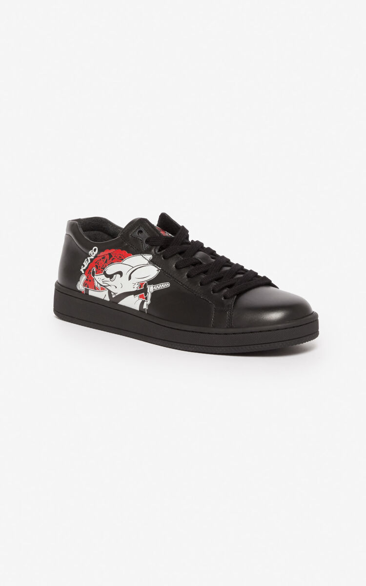 BLACK 'Kung Fu Rat' Tennix trainers for men KENZO