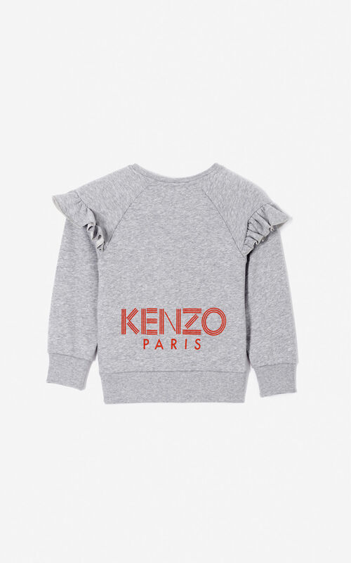 MIDDLE GREY KENZO Logo ruffled sweatshirt for women
