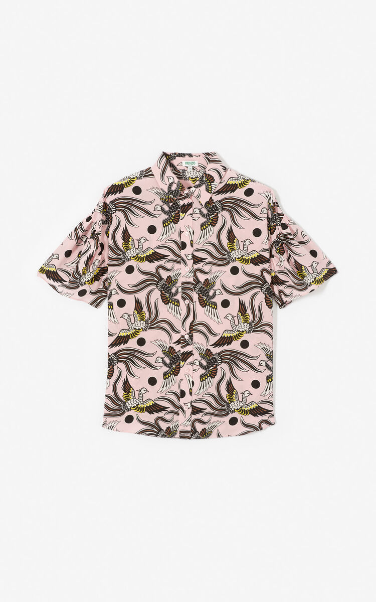 PASTEL PINK Silk 'Flying Phoenix' shirt for women KENZO