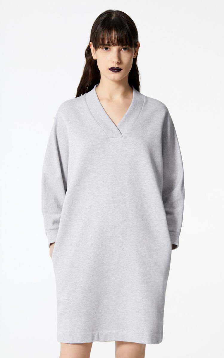 PALE GREY KENZO Logo dress for women