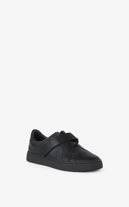 BLACK KENZO Kourt leather sneakers for unisex