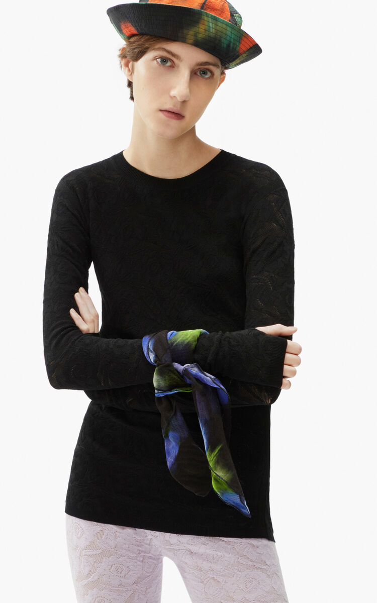 BLACK Lace bodycon jumper for women KENZO