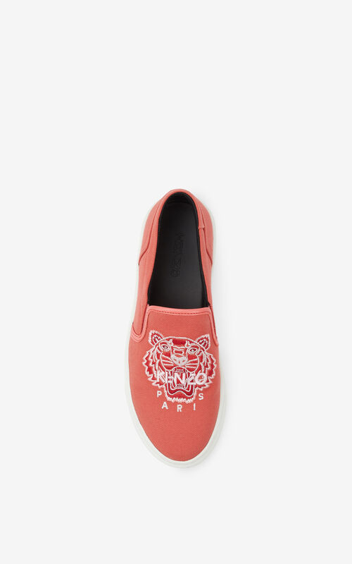 RED ORANGE K-SKATE Tiger canvas slip-on trainers for unisex KENZO