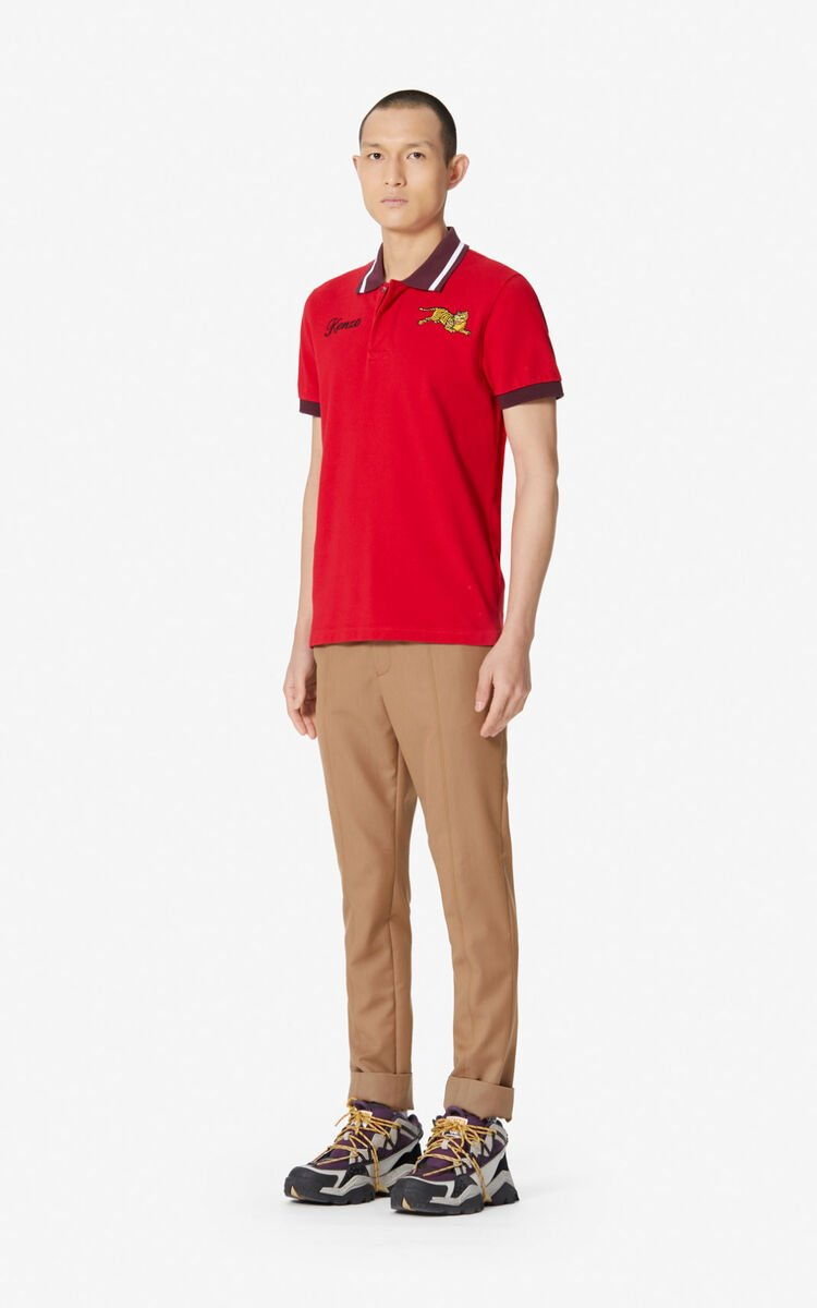 MEDIUM RED 'Jumping Tiger' fitted polo shirt for men KENZO