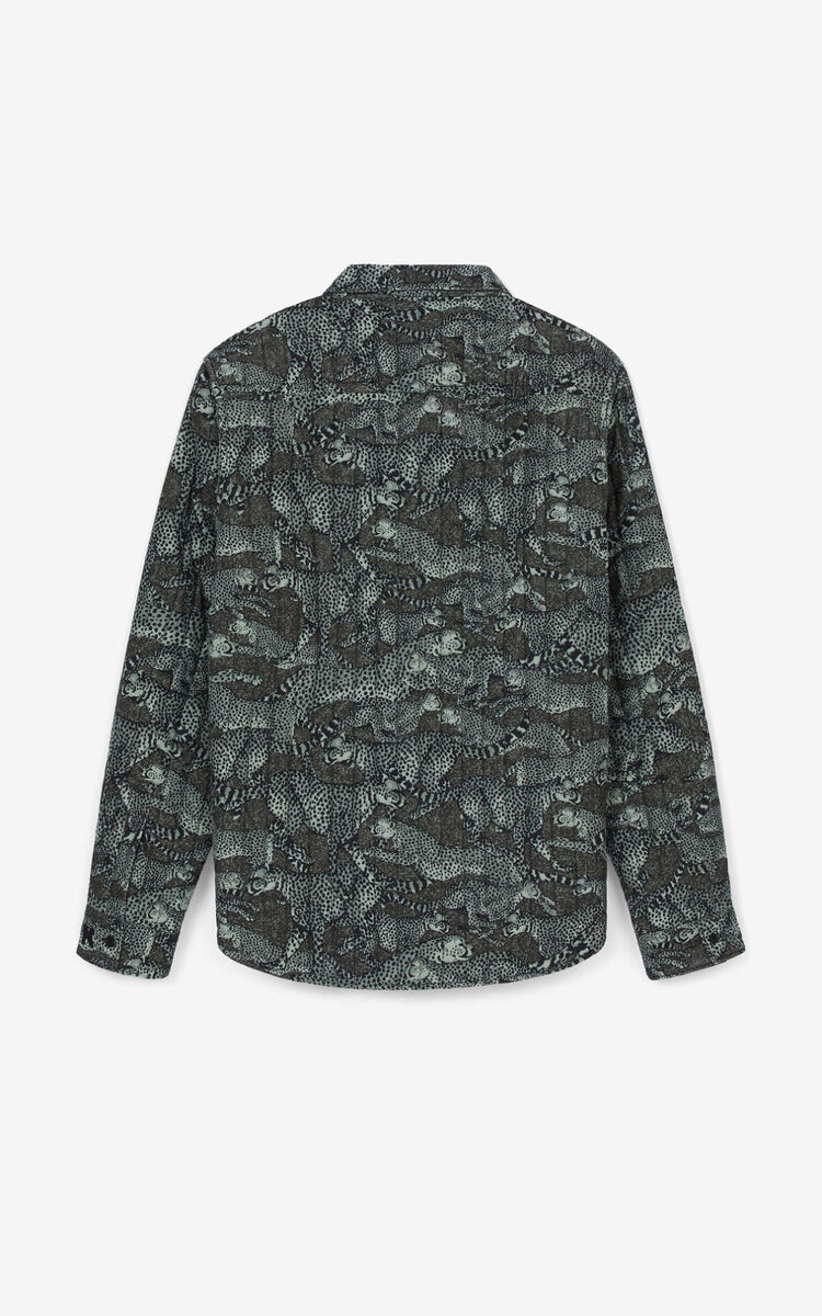 LIME TEA 'Archive Leopard' quilted shirt for women KENZO