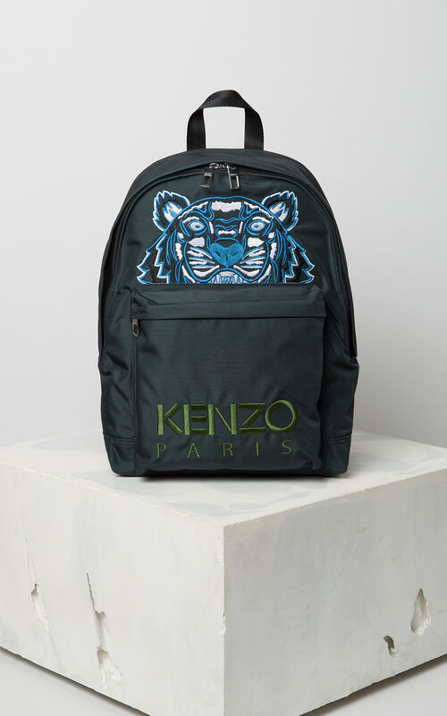 DARK GREY Large Tiger Canvas backpack for women KENZO
