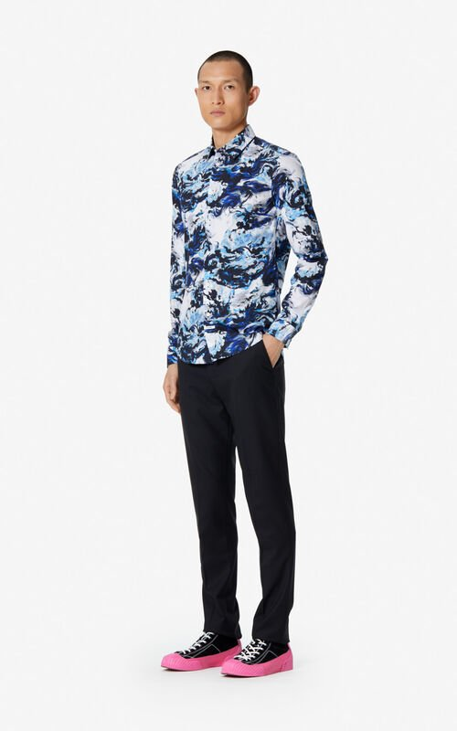 NAVY BLUE Slim cut 'KENZO World' shirt  for men