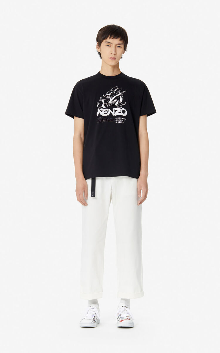 BLACK 'Kung Fu Rat' t-shirt for men KENZO