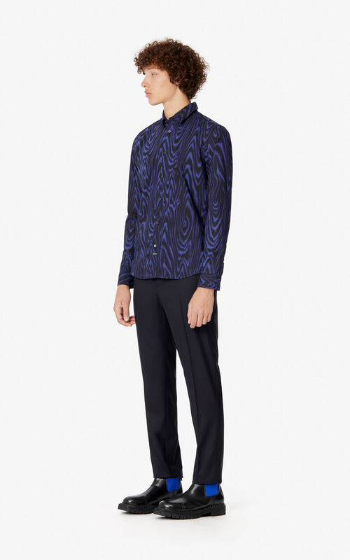 NAVY BLUE Slim cut 'Moire Tiger' shirt for men KENZO