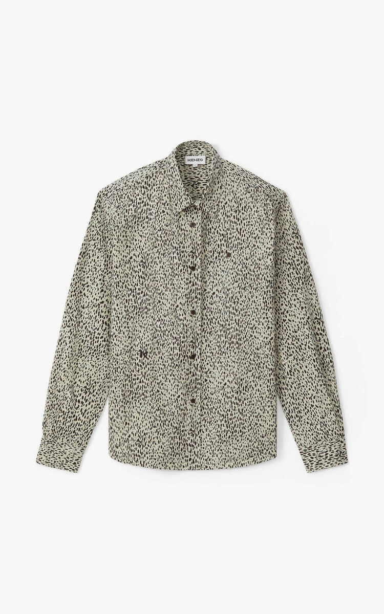 SAGE GREEN Leopard' casual shirt for men KENZO