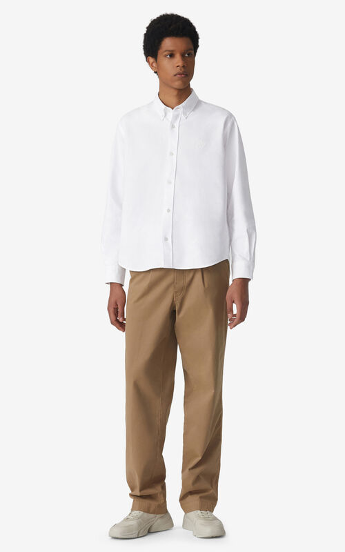 WHITE Tiger Crest casual shirt  for men KENZO