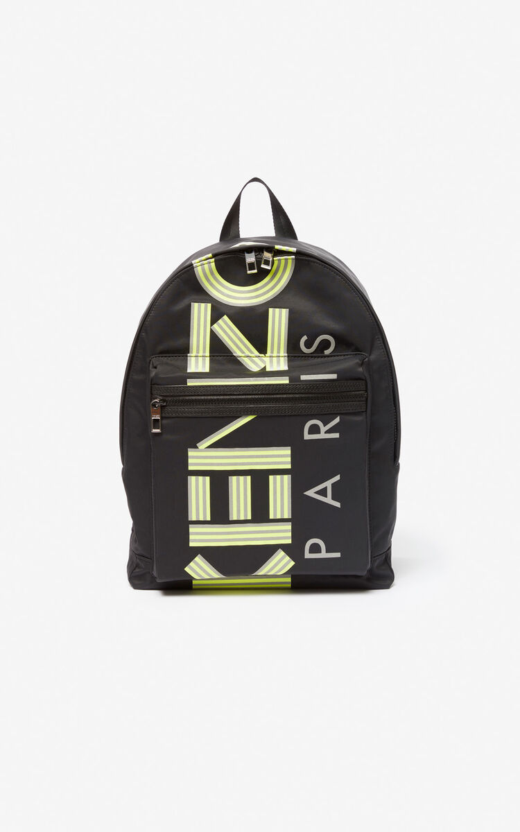 BLACK Large fluorescent KENZO Logo backpack for unisex