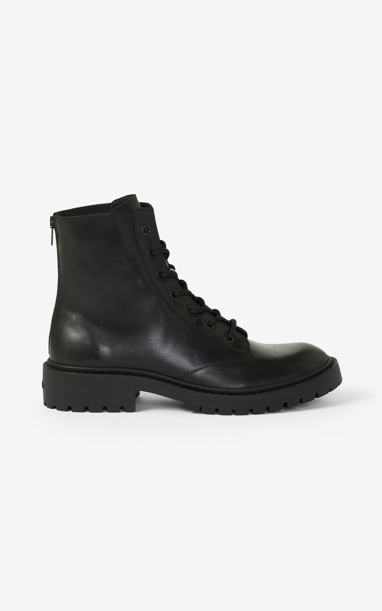 BLACK Lace-up leather Pike ankle boots for unisex KENZO