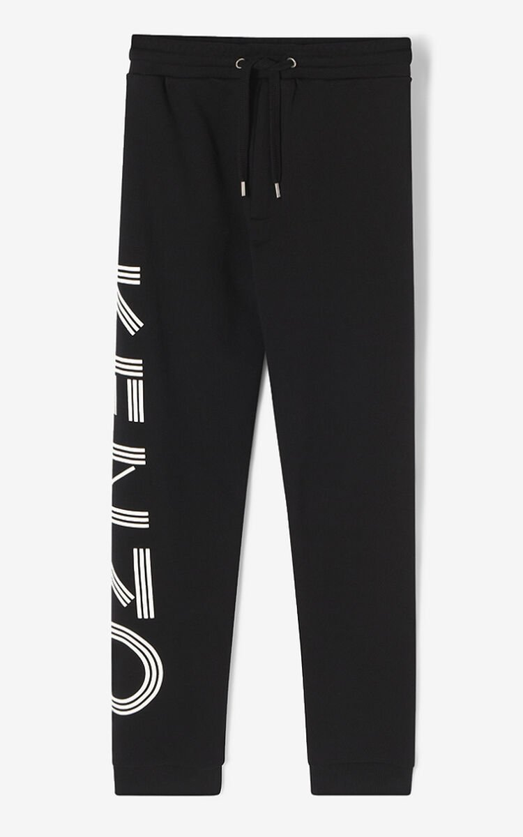 BLACK KENZO Logo joggers for men