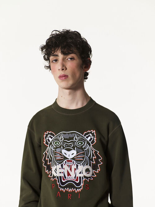 DARK KHAKI Tiger Sweatshirt for men KENZO