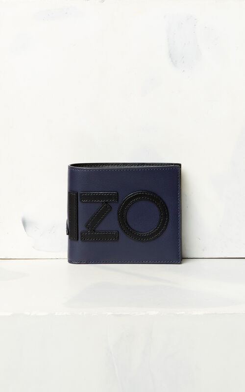 NAVY BLUE KENZO colorblock wallet for men