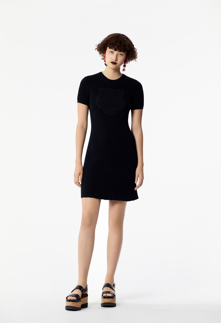 BLACK Knitted Tiger dress for women KENZO
