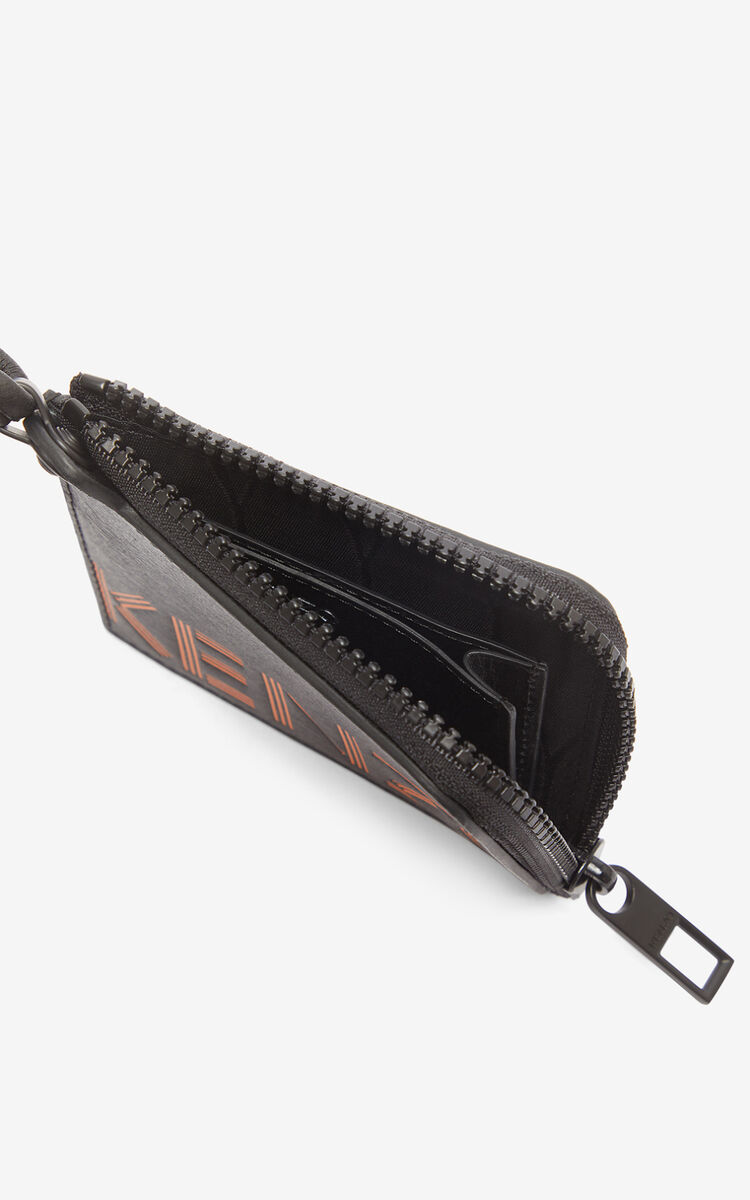 BLACK KENZO logo wallet with zip for unisex