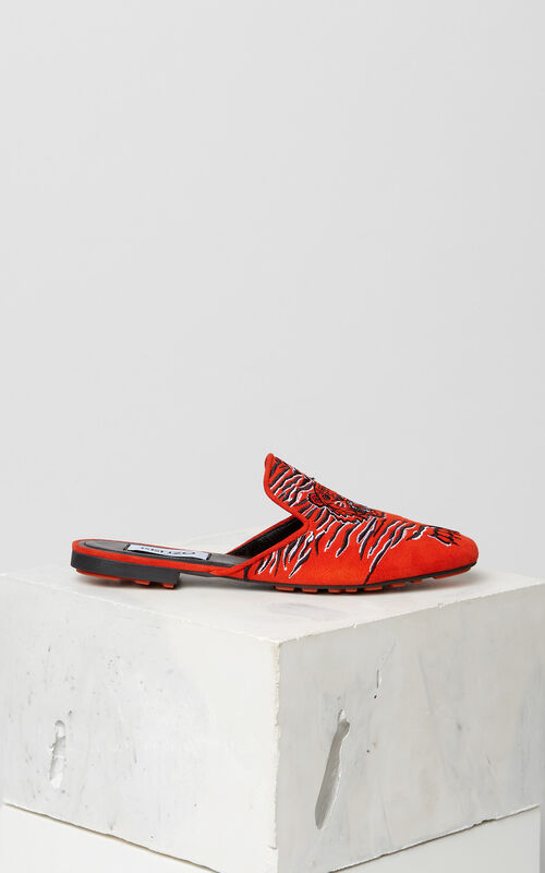MEDIUM RED Custer 'Crawling Tiger' Mules for women KENZO
