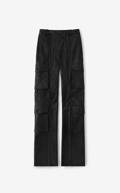 BLACK Leather cargo trousers for unisex KENZO