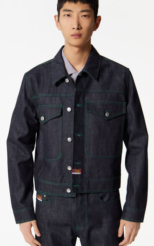 NAVY BLUE 'Leopard' denim cuff jacket for men KENZO