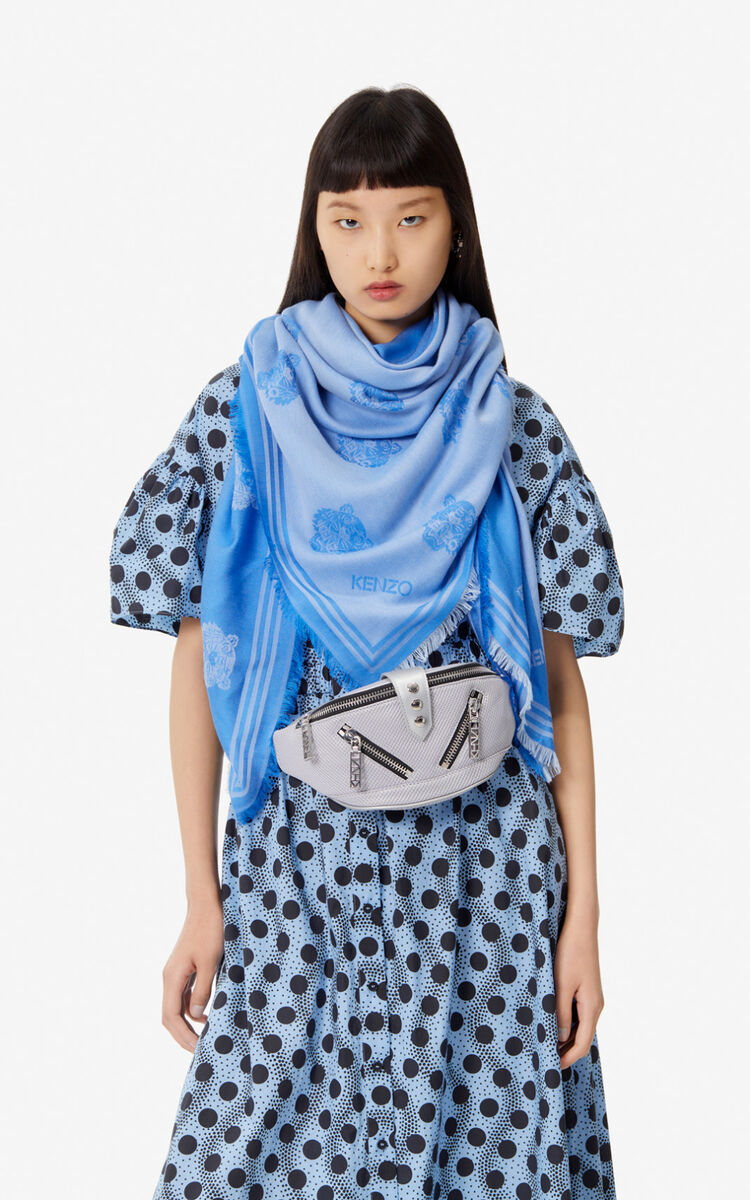 COBALT Large two-tone Tiger scarf for women KENZO