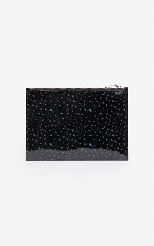 MIDNIGHT BLUE A4 KENZO Logo Leopard clutch for unisex