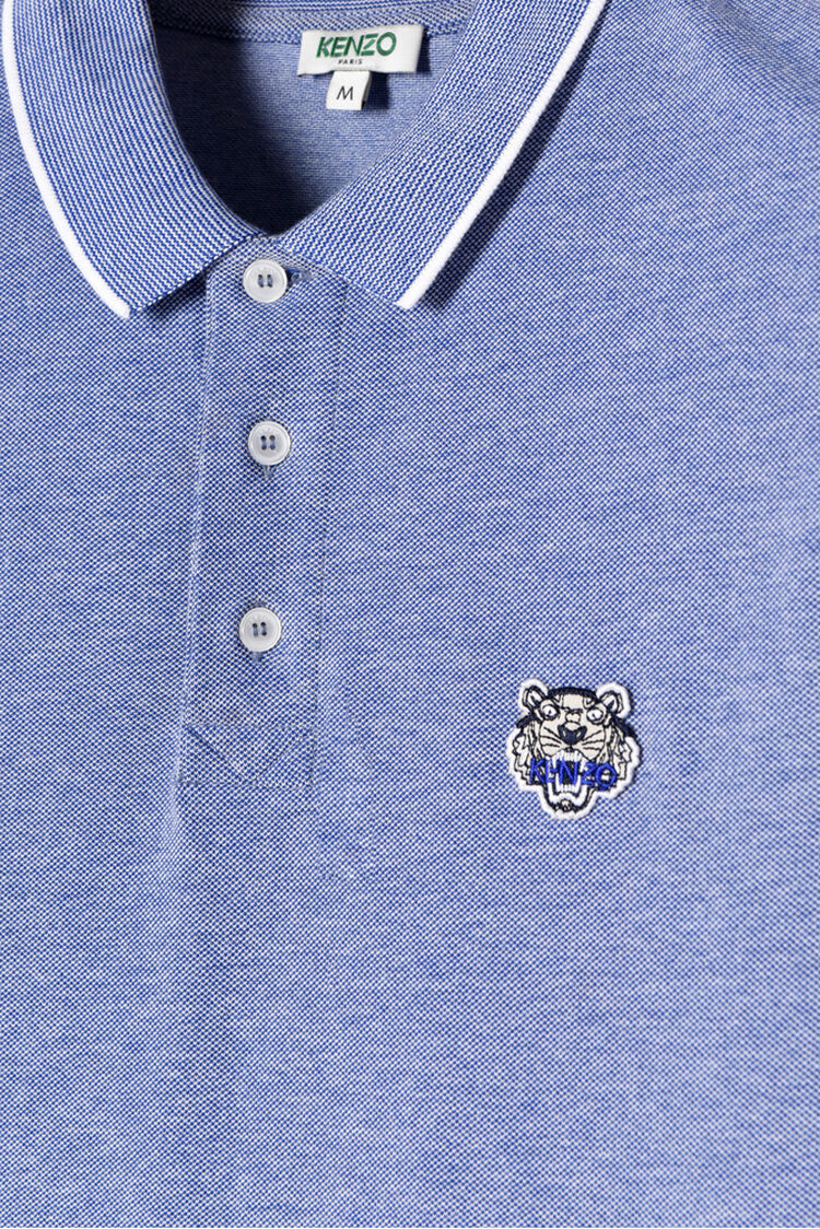 ROYAL BLUE Tiger crest chambray polo shirt for men KENZO