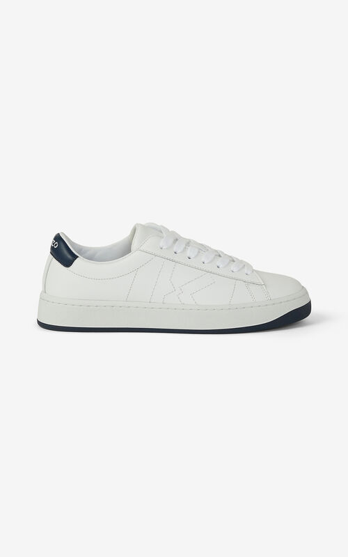 NAVY BLUE KENZO Kourt K Logo leather sneakers for unisex