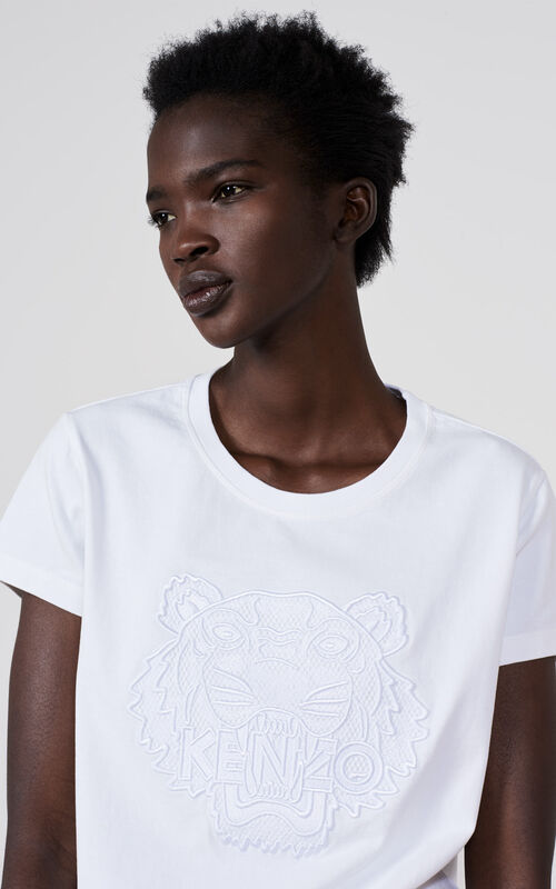 WHITE Embroidered Mesh Tiger T-shirt for women KENZO