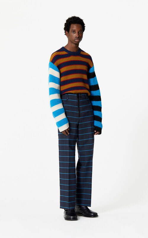 NAVY BLUE Straight-cut striped trousers for men KENZO