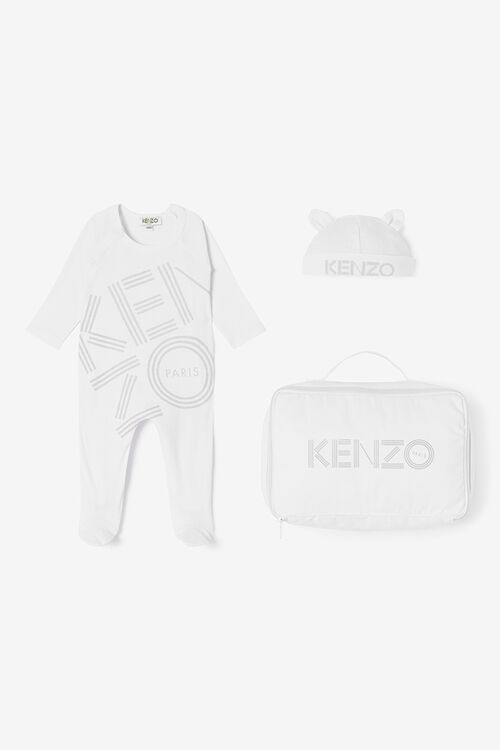 WHITE KENZO logo Baby Grow for men