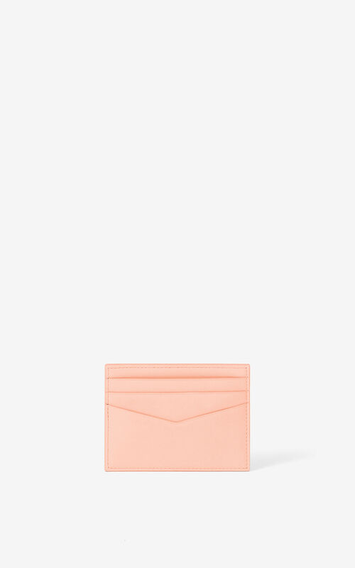FADED PINK KENZO K leather card holder for unisex